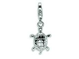 Amore LaVita Sterling Silver Turtle w/Lobster Clasp Charm for Charm Bracelet