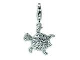 Amore LaVita Sterling Silver CZ Sea Turtle w/Lobster Clasp Charm for Charm Bracelet