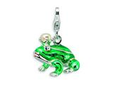 Amore LaVita Sterling Silver 3-D Enameled FW Cult Pearl SW Crystal Frog w/Lobster Clasp for Charm Bracelet