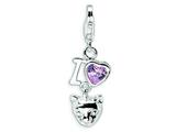 Amore LaVita Sterling Silver CZ I Love Cats w/Lobster Clasp Charm for Charm Bracelet