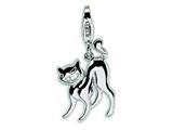 Amore LaVita™ Sterling Silver Scary Cat with w/Lobster Clasp Bracelet Charm style: QCC387