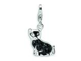Amore LaVita Sterling Silver Cat w/ Fancy w/Lobster Clasp Charm for Charm Bracelet