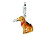Amore LaVita™ Sterling Silver Light Brown and Enamel Dog w/Lobster Clasp Charm for Charm Bracelet style: QCC390