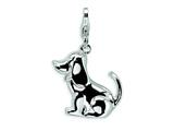 Amore LaVita Sterling Silver 3-D Enameled Dog w/Lobster Clasp Charm for Charm Bracelet