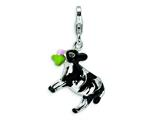 Amore LaVita™ Sterling Silver 3-D Enameled Cow w/Lobster Clasp Charm for Charm Bracelet