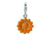 Amore LaVita™ Enameled Orange Flower w/Lobster Clasp Charm for Charm Bracelet style: QCC399