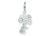 Amore LaVita™ Sterling Silver 3-D Enameled Bouquet of Cut Flowers w/Lobster Clasp Charm for Charm Bracelet
