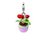 Amore LaVita™ Sterling Silver 3-D Enameled Flowers in Pot w/Lobster Clasp Charm for Charm Bracelet style: QCC402