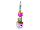 Amore LaVita™ Sterling Silver 3-D Enameled Tulip w/Lobster Clasp Charm for Charm Bracelet style: QCC404