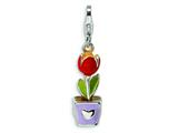 Amore LaVita Sterling Silver 3-D Enameled Tulip Flower in Pot w/Lobster Clasp Charm for Charm Bracelet