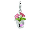 Amore LaVita™ Sterling Silver 3-D Enameled Potted Flowers w/Lobster Clasp Bracelet Charm style: QCC407