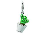 Amore LaVita Sterling Silver 3-D Enameled Potted Green Cactus w/Lobster Clasp Charm for Charm Bracelet