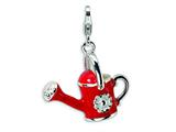Amore LaVita Sterling Silver 3-D Enameled Red Watering Can w/Lobster Clasp Charm for Charm Bracelet