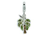 Amore LaVita™ Sterling Silver Crystal Polished Palm Tree w/Lobster Clasp Bracelet Charm style: QCC416