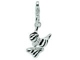 Amore LaVita Sterling Silver CZ Polished Enamel Zebra Bikini Pendant for Charm Bracelet