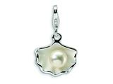 Amore LaVita™ Sterling Silver 3-D Enameled Shell FW Cultured Pearl w/Lobster Clasp Charm for Charm Bracelet style: QCC421