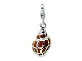 Amore LaVita™ Sterling Silver 3-D Enameled Shell w/Lobster Clasp Charm for Charm Bracelet