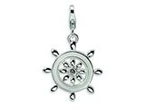 Amore LaVita Sterling Silver 3-D Enameled Swarovski Crystal Ship Wheel w/Lobster Clasp C for Charm Bracelet