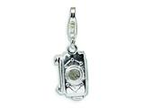 Amore LaVita Sterling Silver Polished Moveable Camera w/Lobster Clasp Charm (Moveable) for Charm Bracelet