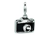 Amore LaVita™ Sterling Silver 3-D Enameled Swarovski Crystal Camera w/Lobster Clasp Charm for Charm Bracelet