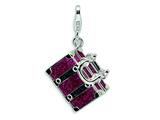 Amore LaVita™ Sterling Silver 3-D Enameled Opening Fuschia Luggage w/Lobster Clasp Charm (Moveable) for Charm Bracelet