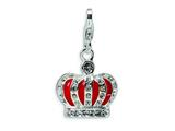Amore LaVita Sterling Silver 3-D Swarovski Crystal and Enameled Red Crown w/Lobster Clasp for Charm Bracelet