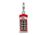 Amore LaVita Sterling Silver 3-D Enameled Red Telephone Booth w/Lobster Clasp Charm for Charm Bracelet