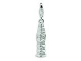 Amore LaVita™ Sterling Silver Polished Clock Tower w/Lobster Clasp Charm for Charm Bracelet style: QCC444