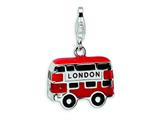 Amore LaVita™ Sterling Silver 3-D Enameled Double Decker London Bus w/Lobster Clasp Charm for Charm Bracelet style: QCC445