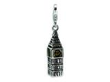 Amore LaVita™ Sterling Silver 3-D Antiqued Big Ben w/Lobster Clasp Charm for Charm Bracelet style: QCC446
