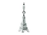 Amore LaVita™ Sterling Silver 3-D Enameled Swarovski Crystal Eiffel Tower w/Lobster Clasp for Charm Bracelet style: QCC448