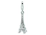 Amore LaVita™ Sterling Silver Polished Eiffel Tower w/Lobster Clasp Charm for Charm Bracelet style: QCC449