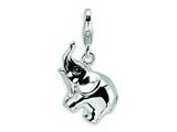 Amore LaVita™ Sterling Silver 3-D Enameled Elephant w/Lobster Clasp Bracelet Charm style: QCC451
