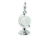 Amore LaVita™ Sterling Silver 3-D Enameled Cracked Crystal Globe w/Lobster Clasp Charm (Moveable, Globe Spins) for Charm style: QCC455