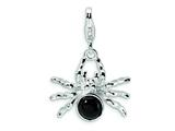Amore LaVita Sterling Silver 3-D Enameled Spider w/Lobster Clasp Charm for Charm Bracelet
