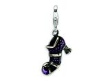 Amore LaVita™ Sterling Silver 3-D Antiqued Enameled Witches Shoe w/Lobster Clasp Bracelet Charm style: QCC462