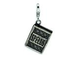 Amore LaVita™ Sterling Silver 3-D Antiqued Spells Book w/Lobster Clasp Charm (Moveable) for Charm Bracelet style: QCC468