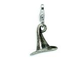 Amore LaVita Sterling Silver 3-D Antiqued Witches Hat w/Lobster Clasp Charm for Charm Bracelet