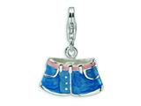 Amore LaVita™ Sterling Silver 3-D Enameled Blue Jean Shorts w/Lobster Clasp Charm for Charm Bracelet
