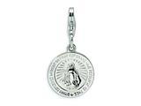 Amore LaVita™ Sterling Silver Miraculous Medal w/Lobster Clasp Bracelet Charm style: QCC495