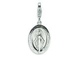 Amore LaVita Sterling Silver Miraculous Medal w/Lobster Clasp Charm for Charm Bracelet