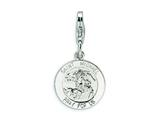 Amore LaVita™ Sterling Silver Saint Michael Medal w/Lobster Clasp Bracelet Charm style: QCC500