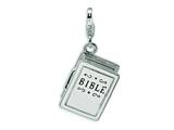 Amore LaVita™ Sterling Silver 3-D Enameled Opening Bible w/Lobster Clasp Charm (Moveable) for Charm Bracelet