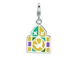 Amore LaVita™ Sterling Silver Enameled Stainglass Window w/Lobster Clasp Bracelet Charm style: QCC520