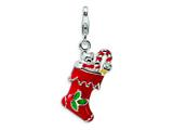 Amore LaVita™ Sterling Silver 3-D Enameled Red Holiday Stocking w/Lobster Clasp Bracelet Charm style: QCC526