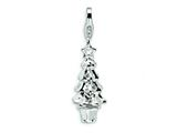 Amore LaVita Sterling Silver 3-D Enameled Swarovski Crystal Christmas Tree w/Lobster Cla for Charm Bracelet