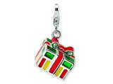 Amore LaVita™ Sterling Silver 3-D Enameled Gift Box w/Lobster Clasp Bracelet Charm style: QCC534