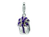 Amore LaVita Sterling Silver 3-D Purple Enameled Present w/Lobster Clasp Charm for Charm Bracelet