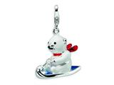 Amore LaVita™ Sterling Silver 3-D Enameled Polar Bear on Sled w/Lobster Clasp Charm for Charm Bracelet