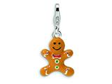 Amore LaVita™ Sterling Silver 3-D Enameled Gingerbread Cookie w/Lobster Clasp Charm for Charm Bracelet